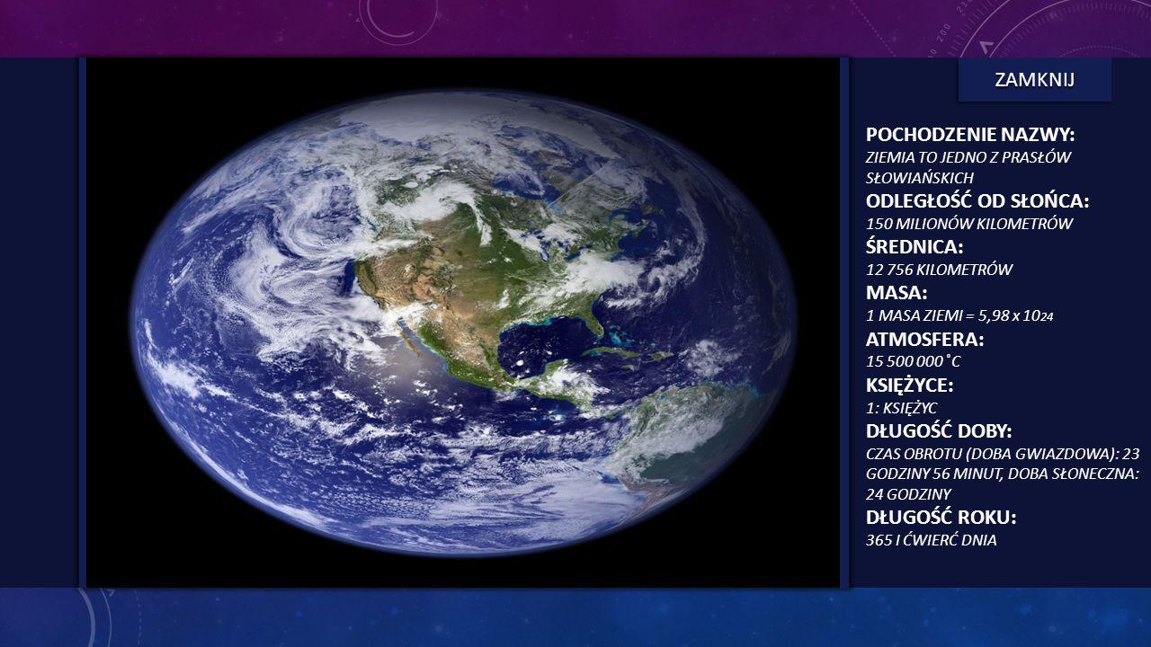 ZIEMIA - INFORMACJE Trzecia od Słońca planeta, Ziemia, jest największą z małych planet skalistych. Oglądana z kosmosu wygląda jak Błękitna Planeta, dz