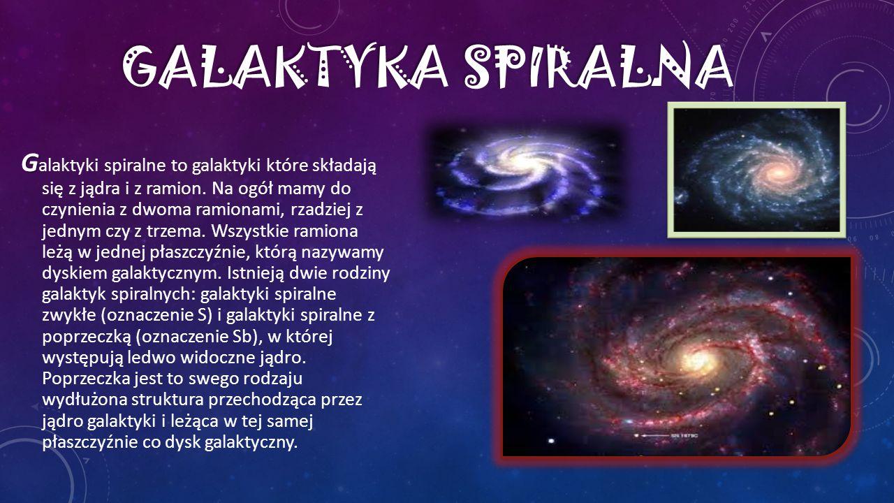 G G alaktyki spiralne to galaktyki które składają się z jądra i z ramion. Na ogół mamy do czynienia z dwoma ramionami, rzadziej z jednym czy z trzema.
