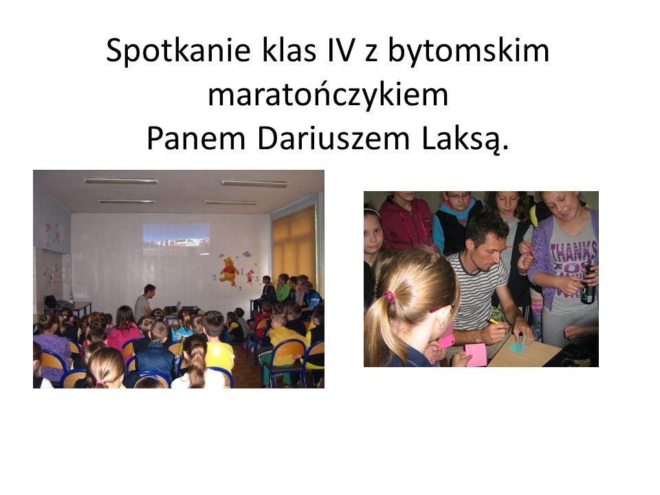 Spotkanie klas IV z bytomskim maratończykiem Panem Dariuszem Laksą.