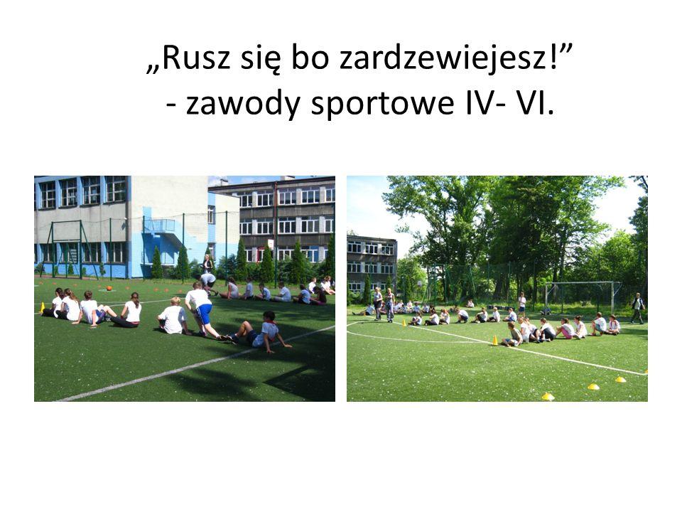 """Klasy IV- VI wzięły udział w zawodach sportowych: """"Rusz się bo zardzewiejesz ! w klasach IV: I miejsce- IV a, II miejsce – IV c, III miejsce IV b."""