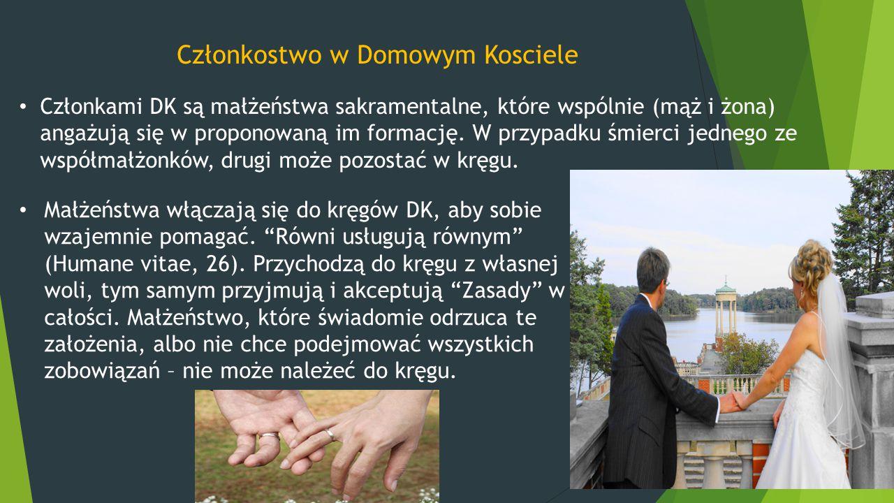 Członkostwo w Domowym Kosciele Członkami DK są małżeństwa sakramentalne, które wspólnie (mąż i żona) angażują się w proponowaną im formację. W przypad