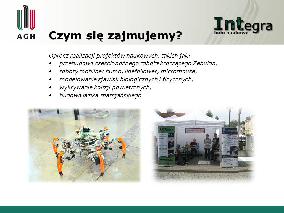 zajmujemy się: organizacją Festiwalu robotyki ROBOCOMP, którego tegoroczna edycja odbędzie się na przełomie października i listopada; organizacją otwartych wykładów tematycznych; warsztatów elektronicznych z techniką mikroprocesorową; udziałem w międzynarodowych zawodach robotów i konferencjach naukowych; udziałem w Festiwalu Nauki na Rynku Głównym w Krakowie; udziałem w dniach otwartych AGH; szerzeniem pasji w CH Bonarka, podczas Nocy Muzeów w Muzeum Żup Krakowskim i podczas Parady Robotów; organizacją szkoleń z zakresu sterowników PLC FATEK; współpracą z firmą Motorola przy organizacji konkursu Diversity i z firmą Astor przy organizacji wykładów na AGH