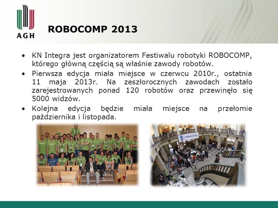ROBOCOMP 2013 KN Integra jest organizatorem Festiwalu robotyki ROBOCOMP, którego główną częścią są właśnie zawody robotów.