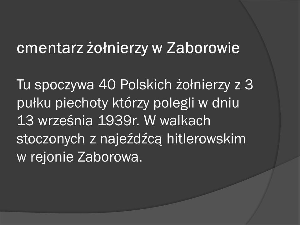 cmentarz żołnierzy w Zaborowie Tu spoczywa 40 Polskich żołnierzy z 3 pułku piechoty którzy polegli w dniu 13 września 1939r.