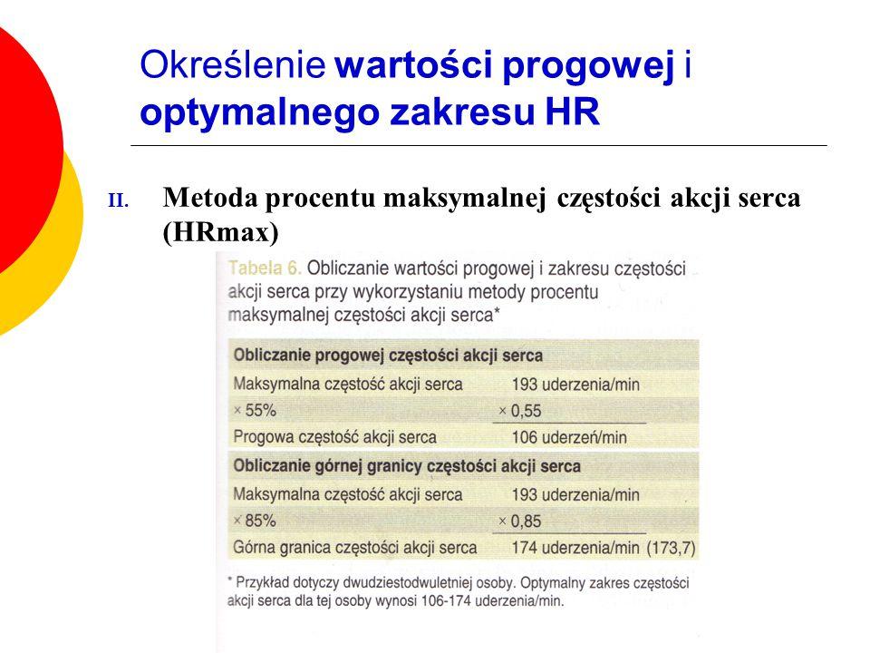 Określenie wartości progowej i optymalnego zakresu HR II.