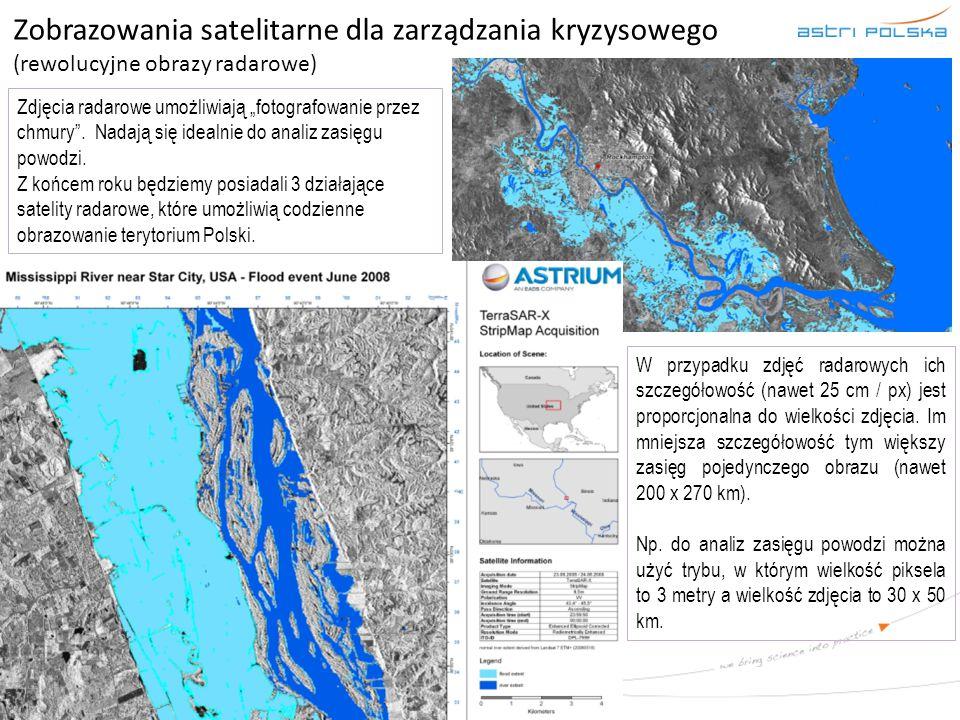 """Zobrazowania satelitarne dla zarządzania kryzysowego (rewolucyjne obrazy radarowe) Zdjęcia radarowe umożliwiają """"fotografowanie przez chmury"""". Nadają"""