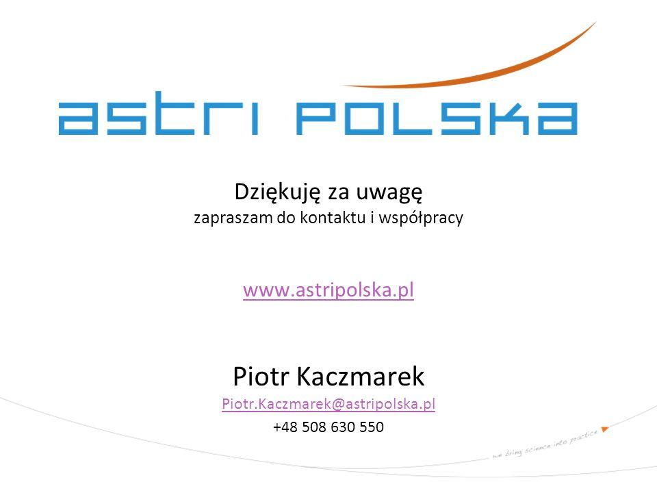 Dziękuję za uwagę zapraszam do kontaktu i współpracy www.astripolska.pl www.astripolska.pl Piotr Kaczmarek Piotr.Kaczmarek@astripolska.pl Piotr.Kaczma
