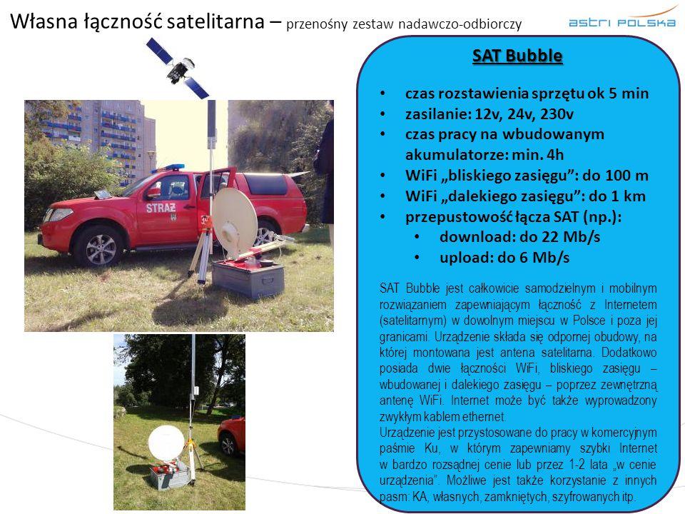 Własna łączność satelitarna – przenośny zestaw nadawczo-odbiorczy SAT Bubble czas rozstawienia sprzętu ok 5 min zasilanie: 12v, 24v, 230v czas pracy n