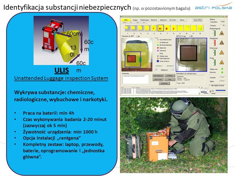 Identyfikacja substancji niebezpiecznych (np. w pozostawionym bagażu) ULIS Unattended Luggage inspection System Wykrywa substancje: chemiczne, radiolo
