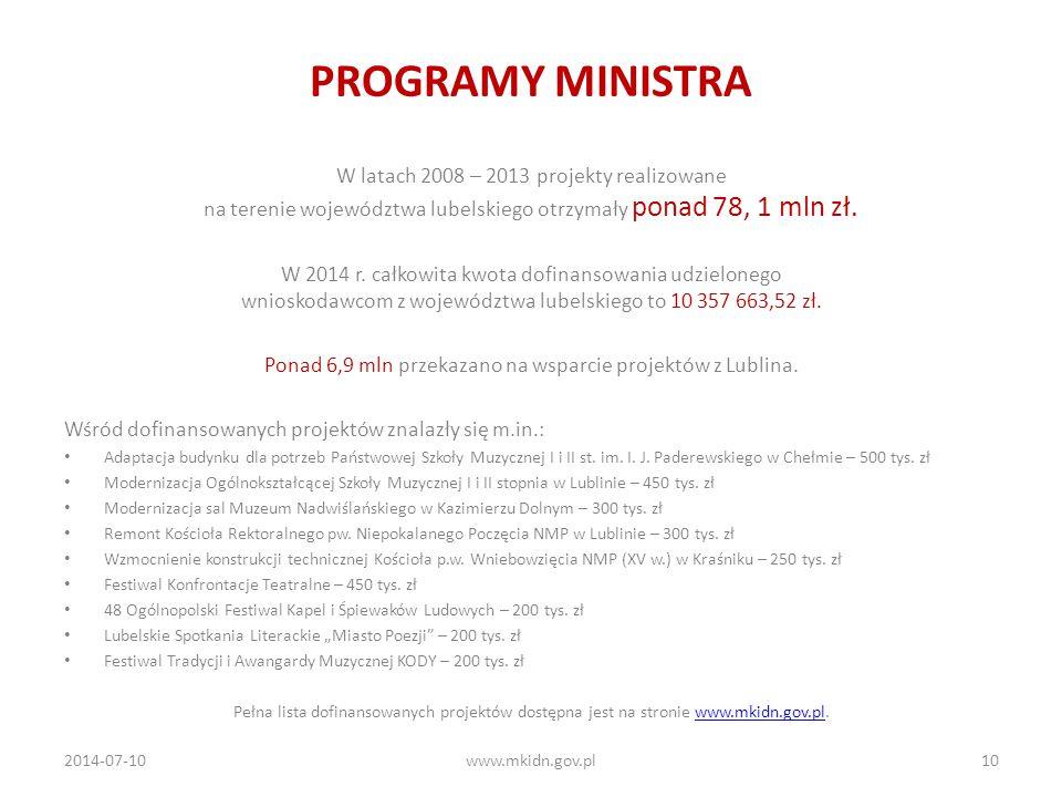 PROGRAMY MINISTRA W latach 2008 – 2013 projekty realizowane na terenie województwa lubelskiego otrzymały ponad 78, 1 mln zł.