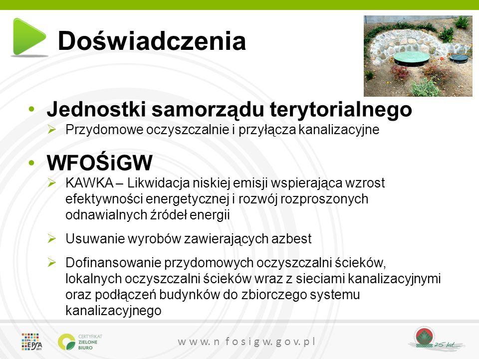 w w w. n f o s i g w. g o v. p l Doświadczenia Jednostki samorządu terytorialnego  Przydomowe oczyszczalnie i przyłącza kanalizacyjne WFOŚiGW  KAWKA