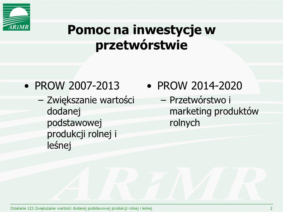 Limit środków dla przetwórstwa w budżecie PROW 2007-2013 oraz 2014-2020 w mln EUR Działanie 123 Zwiększanie wartości dodanej podstawowej produkcji rolnej i leśnej3