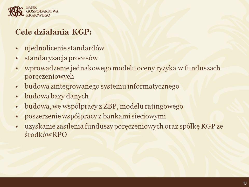 13 Cele działania KGP: ujednolicenie standardów standaryzacja procesów wprowadzenie jednakowego modelu oceny ryzyka w funduszach poręczeniowych budowa zintegrowanego systemu informatycznego budowa bazy danych budowa, we współpracy z ZBP, modelu ratingowego poszerzenie współpracy z bankami sieciowymi uzyskanie zasilenia funduszy poręczeniowych oraz spółkę KGP ze środków RPO