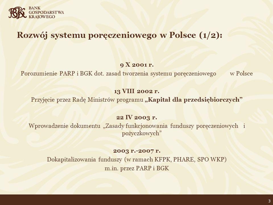 14 Kierunki rozwoju funduszy pożyczkowych i poręczeniowych dla MSP w latach 2009-2013 Cele szczegółowe: maksymalne wykorzystanie środków funduszy poprzez wzrost mnożnika kapitałowego budowa systemu w pełni akceptowalnego przez środowiska finansowe/bankowe zapewnienie nadzoru nad wykorzystaniem funduszy publicznych zastosowanie mechanizmu re-poręczeń BGK jako elementu stabilizującego system poręczeniowy w Polsce współpraca samorządów terytorialnych w zakresie wspierania funduszy