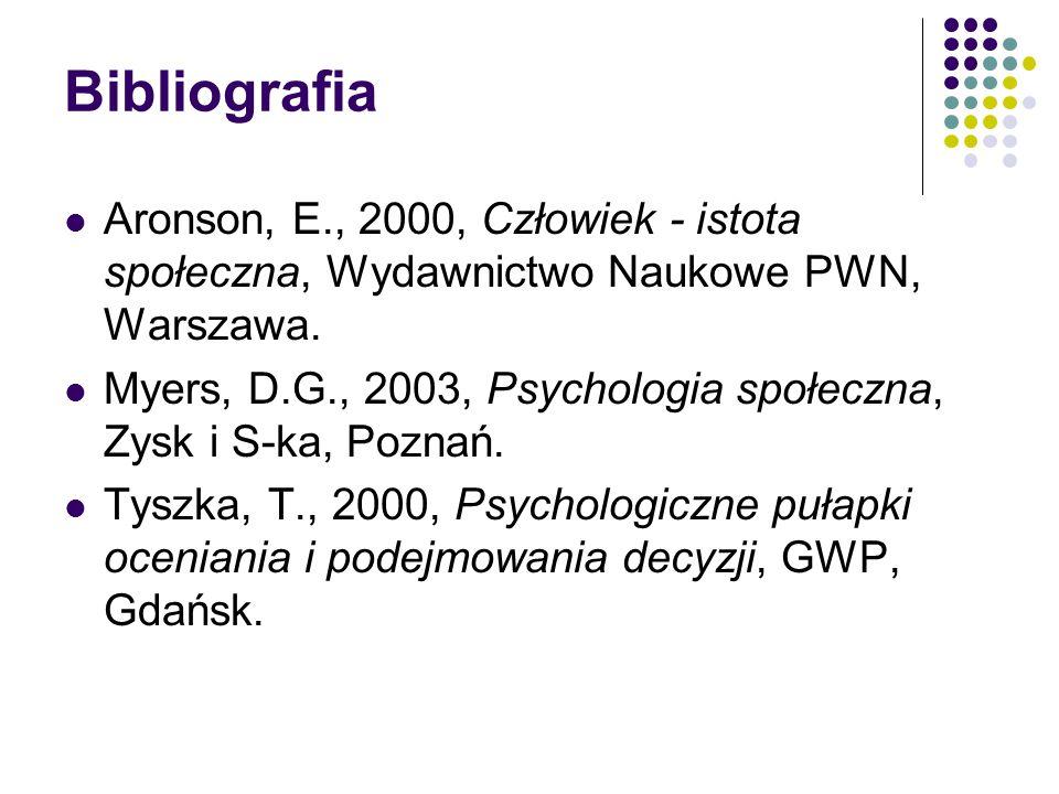 Bibliografia Aronson, E., 2000, Człowiek - istota społeczna, Wydawnictwo Naukowe PWN, Warszawa. Myers, D.G., 2003, Psychologia społeczna, Zysk i S-ka,