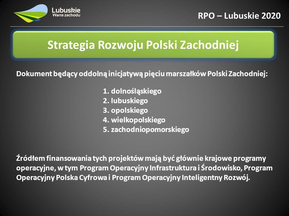 Strategia Rozwoju Polski Zachodniej RPO – Lubuskie 2020 8 Priorytetów: 1.