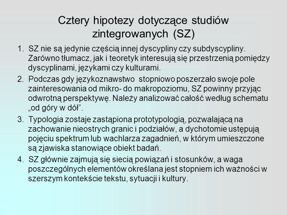 Cztery hipotezy dotyczące studiów zintegrowanych (SZ) 1.