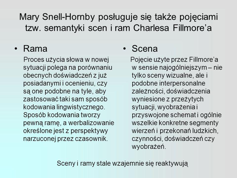 Mary Snell-Hornby posługuje się także pojęciami tzw.