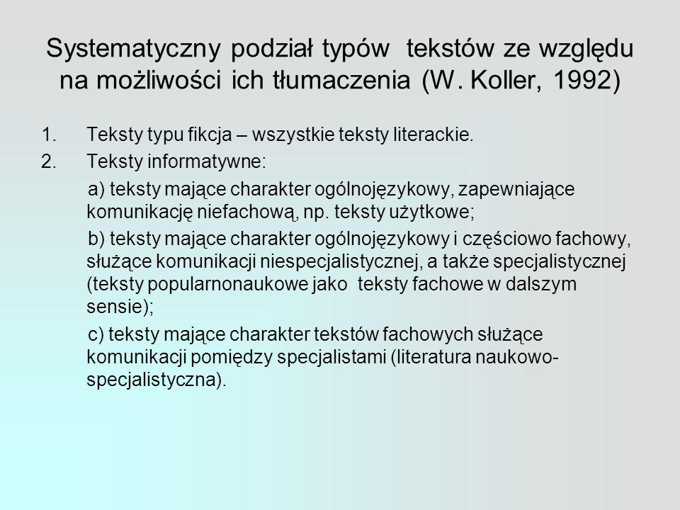 Systematyczny podział typów tekstów ze względu na możliwości ich tłumaczenia (W.