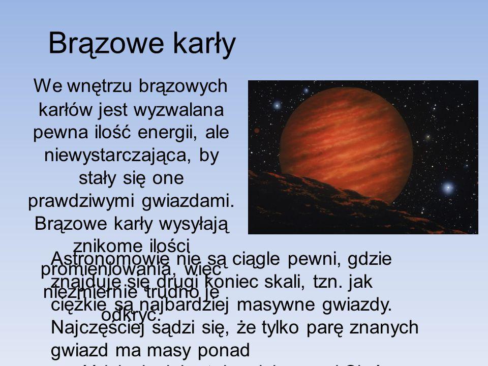 Brązowe karły We wnętrzu brązowych karłów jest wyzwalana pewna ilość energii, ale niewystarczająca, by stały się one prawdziwymi gwiazdami. Brązowe ka