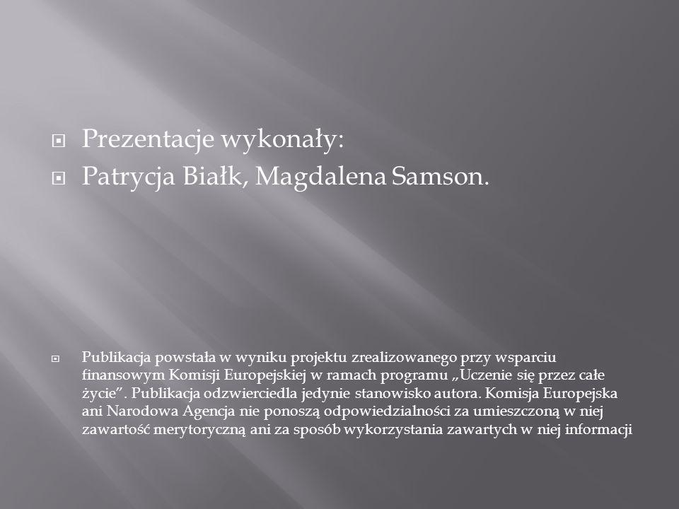  Prezentacje wykonały:  Patrycja Białk, Magdalena Samson.  Publikacja powstała w wyniku projektu zrealizowanego przy wsparciu finansowym Komisji Eu