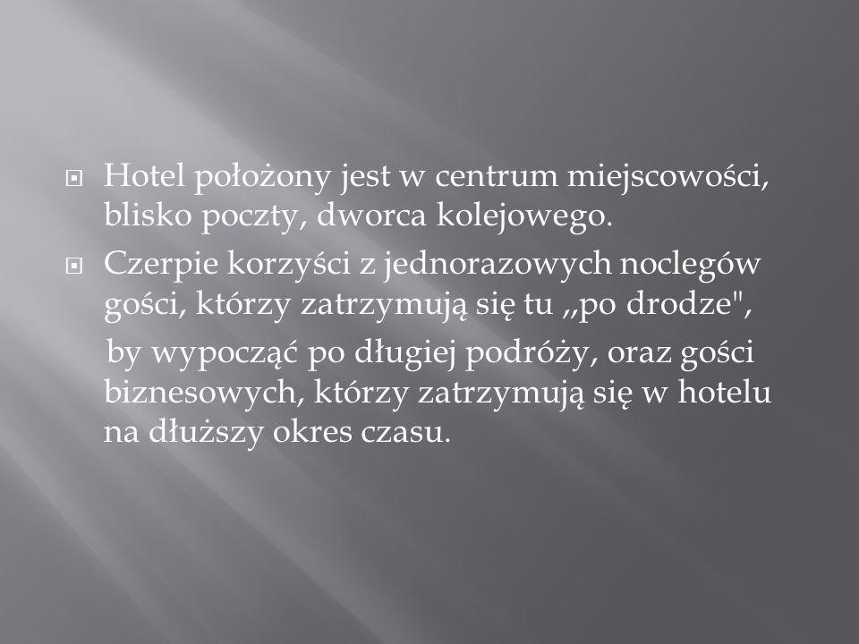  Hotel dysponuje 22 pokojami z łazienką, TV, telefonem.