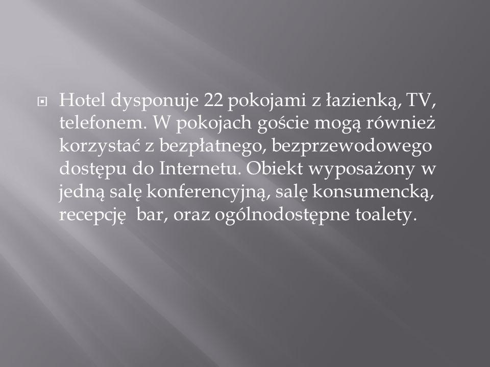  Hotel dysponuje 22 pokojami z łazienką, TV, telefonem. W pokojach goście mogą również korzystać z bezpłatnego, bezprzewodowego dostępu do Internetu.