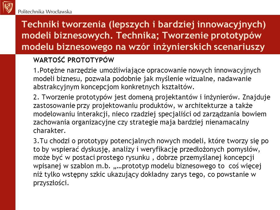 Techniki tworzenia (lepszych i bardziej innowacyjnych) modeli biznesowych. Technika; Tworzenie prototypów modelu biznesowego na wzór inżynierskich sce