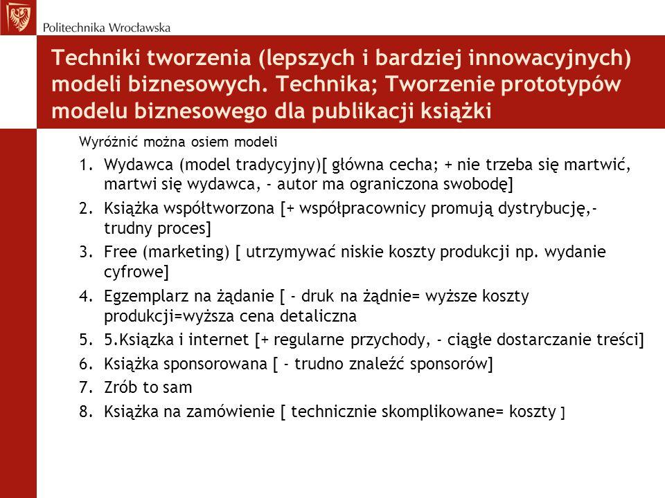 Techniki tworzenia (lepszych i bardziej innowacyjnych) modeli biznesowych. Technika; Tworzenie prototypów modelu biznesowego dla publikacji książki Wy
