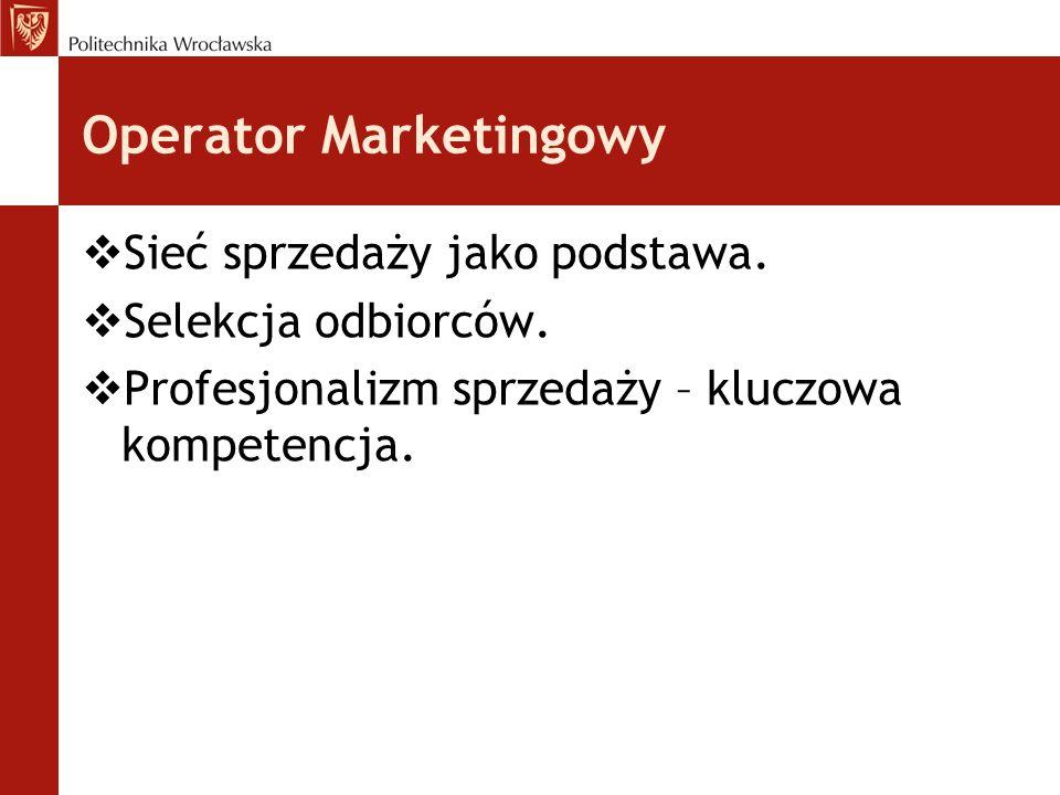 Operator Marketingowy  Sieć sprzedaży jako podstawa.  Selekcja odbiorców.  Profesjonalizm sprzedaży – kluczowa kompetencja.