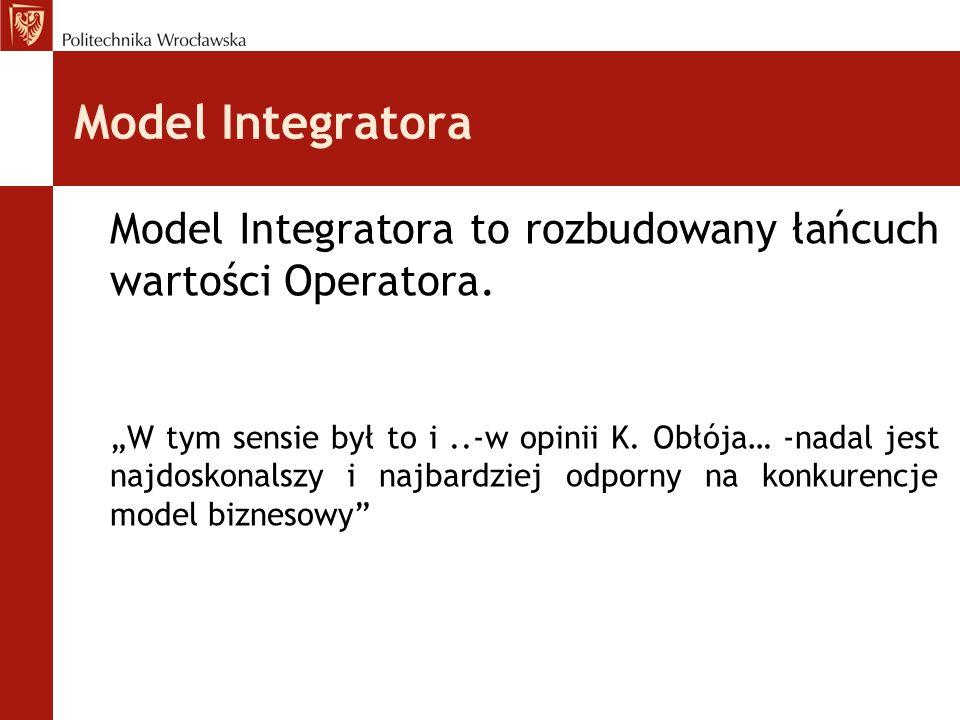 """Model Integratora Model Integratora to rozbudowany łańcuch wartości Operatora. """"W tym sensie był to i..-w opinii K. Obłója… -nadal jest najdoskonalszy"""