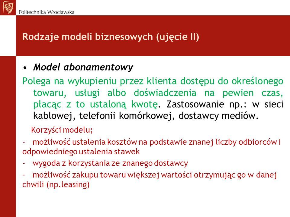 Rodzaje modeli biznesowych (ujęcie II) Model abonamentowy Polega na wykupieniu przez klienta dostępu do określonego towaru, usługi albo doświadczenia