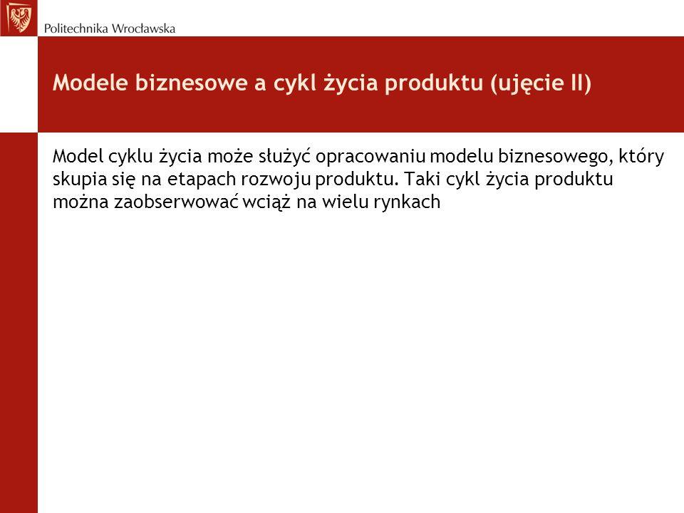Modele biznesowe a cykl życia produktu (ujęcie II) Model cyklu życia może służyć opracowaniu modelu biznesowego, który skupia się na etapach rozwoju p