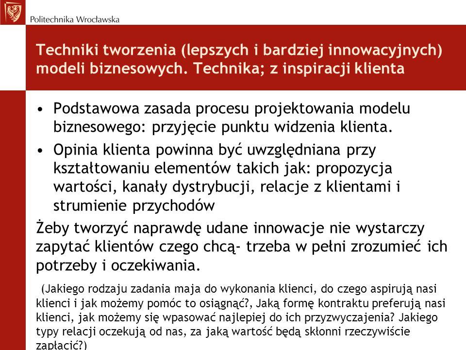 Techniki tworzenia (lepszych i bardziej innowacyjnych) modeli biznesowych. Technika; z inspiracji klienta Podstawowa zasada procesu projektowania mode