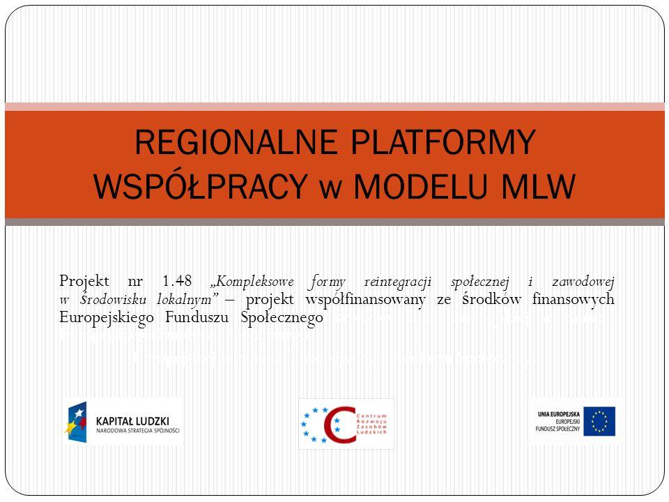 """Projekt nr 1.48 """"Kompleksowe formy reintegracji społecznej i zawodowej w ś rodowisku lokalnym – projekt współfinansowany ze ś rodków finansowych Europejskiego Funduszu Społecznego ś rodków Unii Europejskiej w ramach Europejskiego Funduszu Społecznego Europejskiej w ramach Europejskiego Funduszu Społecznego REGIONALNE PLATFORMY WSPÓŁPRACY w MODELU MLW"""