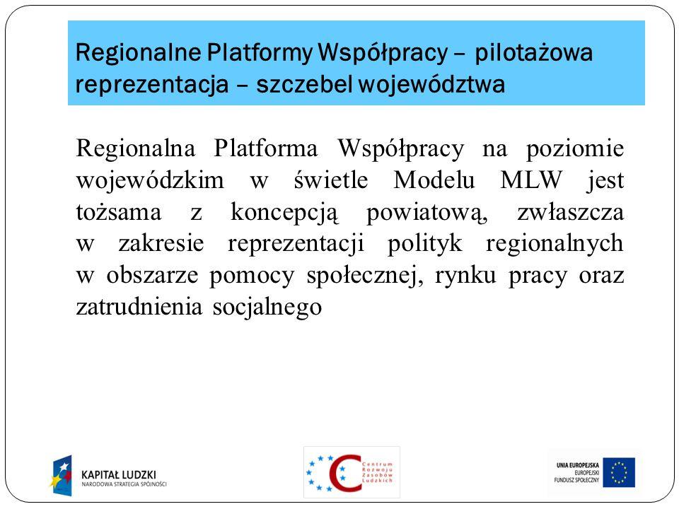 Regionalne Platformy Współpracy – pilotażowa reprezentacja – szczebel województwa Regionalna Platforma Współpracy na poziomie wojewódzkim w świetle Modelu MLW jest tożsama z koncepcją powiatową, zwłaszcza w zakresie reprezentacji polityk regionalnych w obszarze pomocy społecznej, rynku pracy oraz zatrudnienia socjalnego