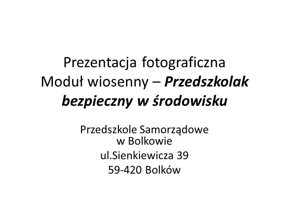 Prezentacja fotograficzna Moduł wiosenny – Przedszkolak bezpieczny w środowisku Przedszkole Samorządowe w Bolkowie ul.Sienkiewicza 39 59-420 Bolków