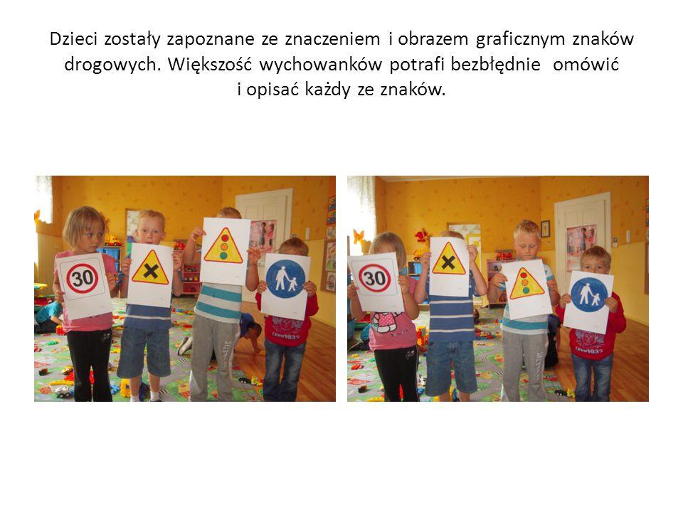 Dzieci zostały zapoznane ze znaczeniem i obrazem graficznym znaków drogowych.