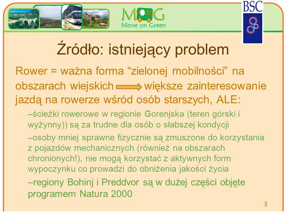 Your logo Here Źródło: istniejący problem Rower = ważna forma zielonej mobilności na obszarach wiejskich większe zainteresowanie jazdą na rowerze wśród osób starszych, ALE: –ścieżki rowerowe w regionie Gorenjska (teren górski i wyżynny)) są za trudne dla osób o słabszej kondycji –osoby mniej sprawne fizycznie są zmuszone do korzystania z pojazdów mechanicznych (również na obszarach chronionych!), nie mogą korzystać z aktywnych form wypoczynku co prowadzi do obniżenia jakości życia –regiony Bohinj i Preddvor są w dużej części objęte programem Natura 2000 3