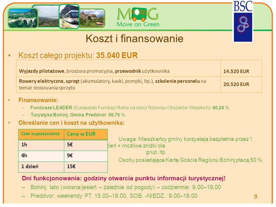 Your logo Here Koszt i finansowanie Koszt całego projektu: 35.040 EUR Finansowanie: –Fundusze LEADER (Europejski Fundusz Rolny na rzecz Rozwoju Obszarów Wiejskich): 40,24 % –Turystyka Bohinj, Gmina Preddvor: 59,76 % Określanie cen i koszt na użytkownika: Uwaga: Mieszkańcy gminy korzystają bezpłatnie przez 1 godz.