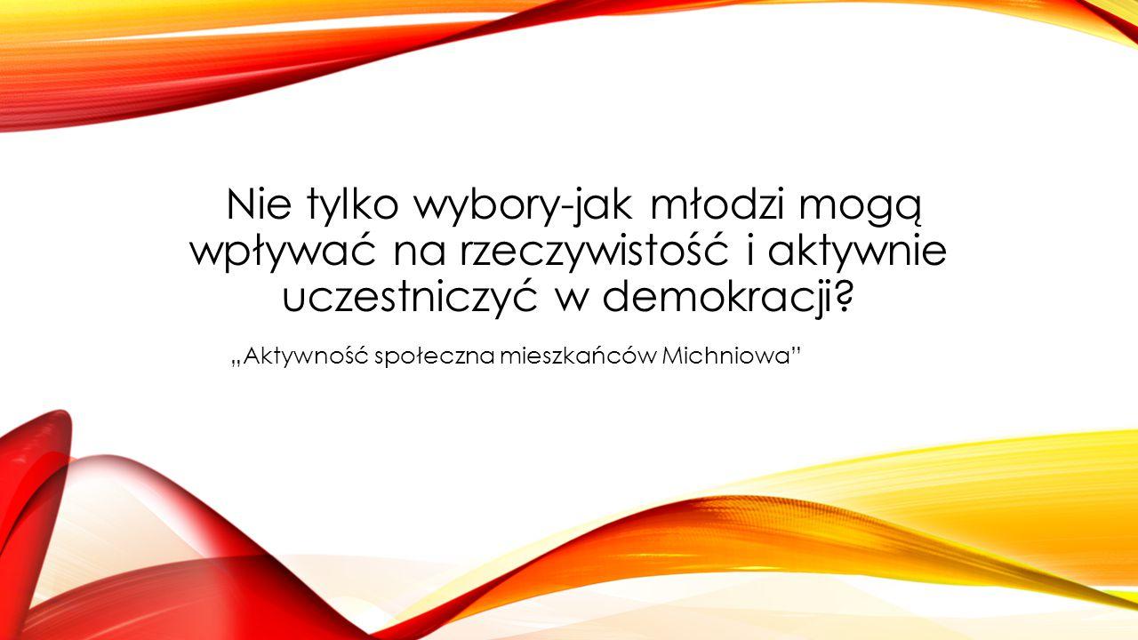 """Nie tylko wybory-jak młodzi mogą wpływać na rzeczywistość i aktywnie uczestniczyć w demokracji? """"Aktywność społeczna mieszkańców Michniowa"""""""