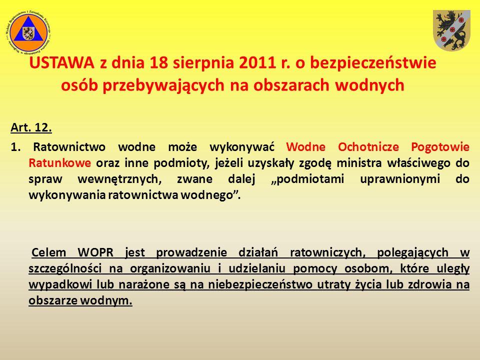 Uprawnienia i obowiązku WOPR-u USTAWA z dnia 18 sierpnia 2011 r.