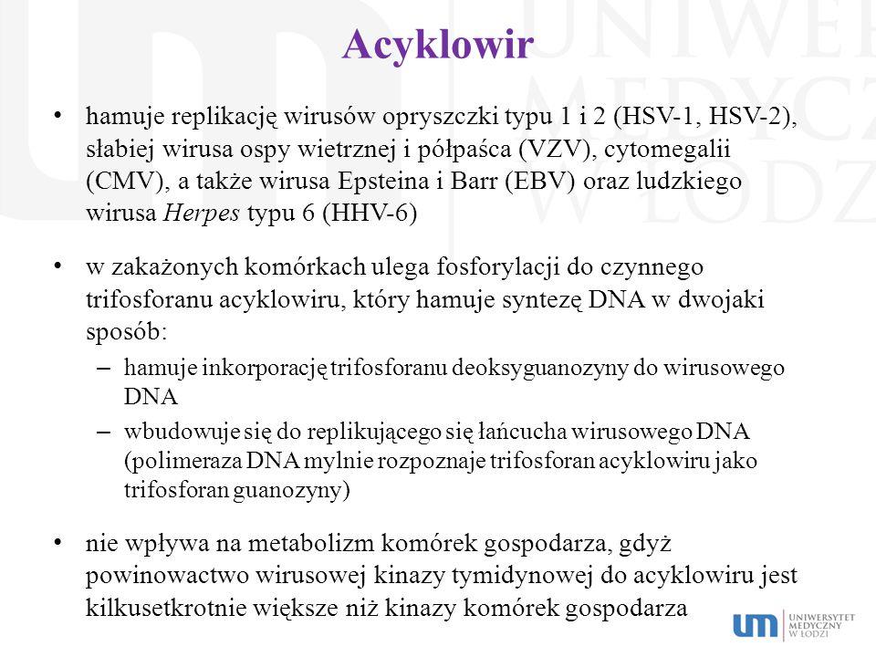 Acyklowir hamuje replikację wirusów opryszczki typu 1 i 2 (HSV-1, HSV-2), słabiej wirusa ospy wietrznej i półpaśca (VZV), cytomegalii (CMV), a także w