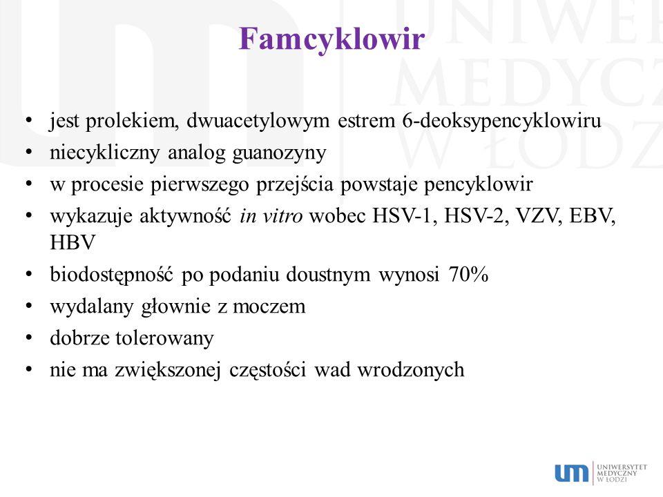 Famcyklowir jest prolekiem, dwuacetylowym estrem 6-deoksypencyklowiru niecykliczny analog guanozyny w procesie pierwszego przejścia powstaje pencyklow