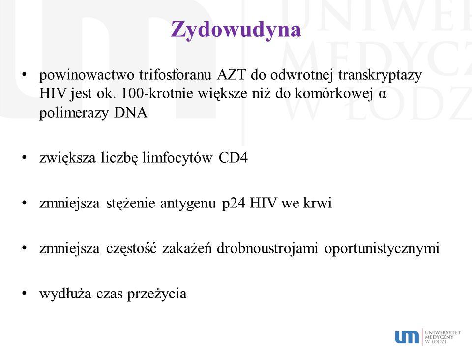 Zydowudyna powinowactwo trifosforanu AZT do odwrotnej transkryptazy HIV jest ok. 100-krotnie większe niż do komórkowej α polimerazy DNA zwiększa liczb