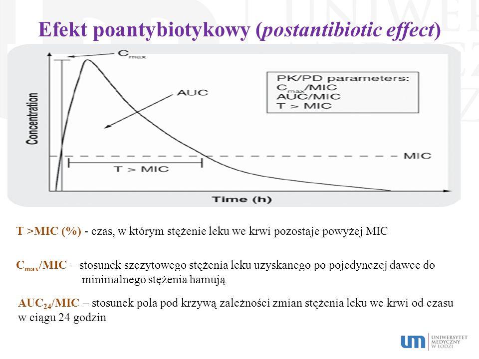T >MIC (%) - czas, w którym stężenie leku we krwi pozostaje powyżej MIC C max /MIC – stosunek szczytowego stężenia leku uzyskanego po pojedynczej dawc