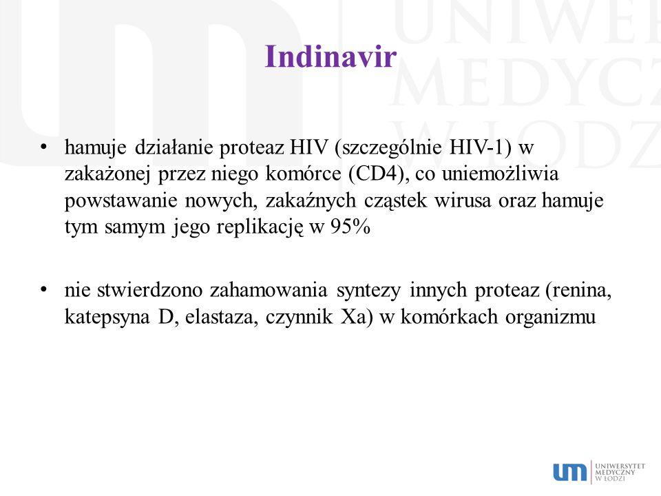 Indinavir hamuje działanie proteaz HIV (szczególnie HIV-1) w zakażonej przez niego komórce (CD4), co uniemożliwia powstawanie nowych, zakaźnych cząste