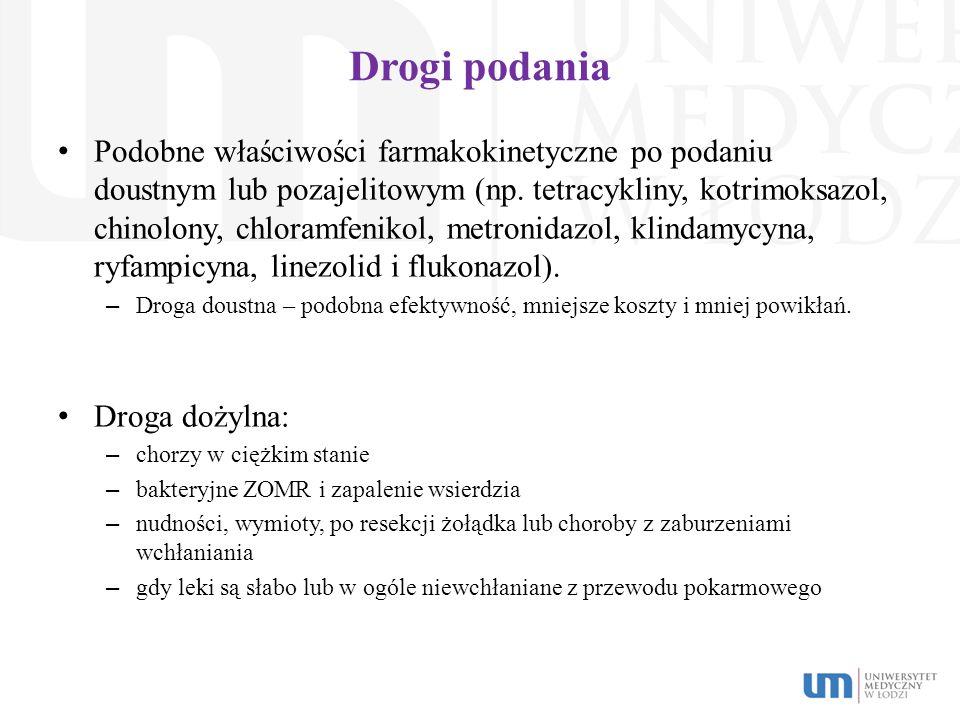 Drogi podania Podobne właściwości farmakokinetyczne po podaniu doustnym lub pozajelitowym (np. tetracykliny, kotrimoksazol, chinolony, chloramfenikol,