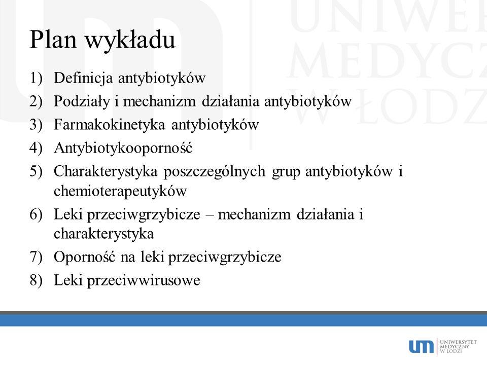 Plan wykładu 1)Definicja antybiotyków 2)Podziały i mechanizm działania antybiotyków 3)Farmakokinetyka antybiotyków 4)Antybiotykooporność 5)Charakterys