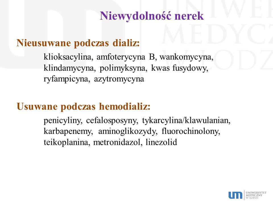 Niewydolność nerek Nieusuwane podczas dializ: klioksacylina, amfoterycyna B, wankomycyna, klindamycyna, polimyksyna, kwas fusydowy, ryfampicyna, azytr